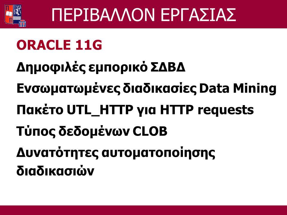 ΠΕΡΙΒΑΛΛΟΝ ΕΡΓΑΣΙΑΣ ORACLE 11G Δημοφιλές εμπορικό ΣΔΒΔ Ενσωματωμένες διαδικασίες Data Mining Πακέτο UTL_HTTP για HTTP requests Τύπος δεδομένων CLOB Δυνατότητες αυτοματοποίησης διαδικασιών