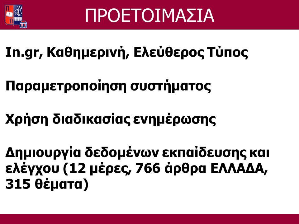 ΠΡΟΕΤΟΙΜΑΣΙΑ In.gr, Καθημερινή, Ελεύθερος Τύπος Παραμετροποίηση συστήματος Χρήση διαδικασίας ενημέρωσης Δημιουργία δεδομένων εκπαίδευσης και ελέγχου (12 μέρες, 766 άρθρα ΕΛΛΑΔΑ, 315 θέματα)