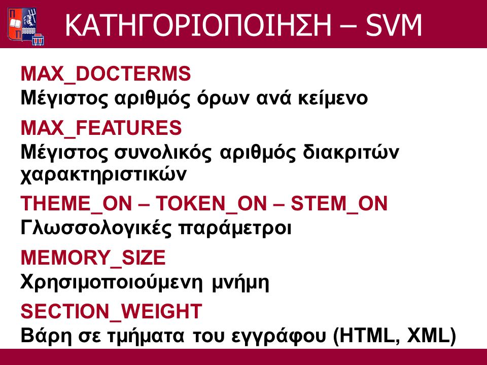 MAX_DOCTERMS Μέγιστος αριθμός όρων ανά κείμενο MAX_FEATURES Μέγιστος συνολικός αριθμός διακριτών χαρακτηριστικών THEME_ON – TOKEN_ON – STEM_ON Γλωσσολ