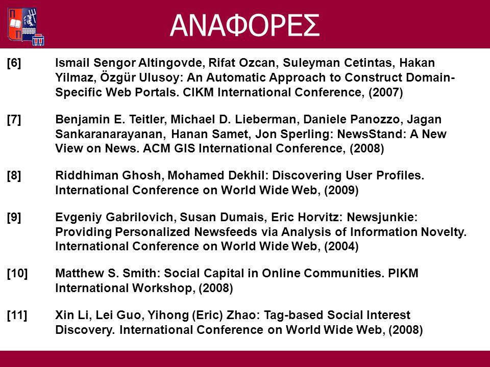 ΑΝΑΦΟΡΕΣ [6]Ismail Sengor Altingovde, Rifat Ozcan, Suleyman Cetintas, Hakan Yilmaz, Özgür Ulusoy: An Automatic Approach to Construct Domain- Specific Web Portals.