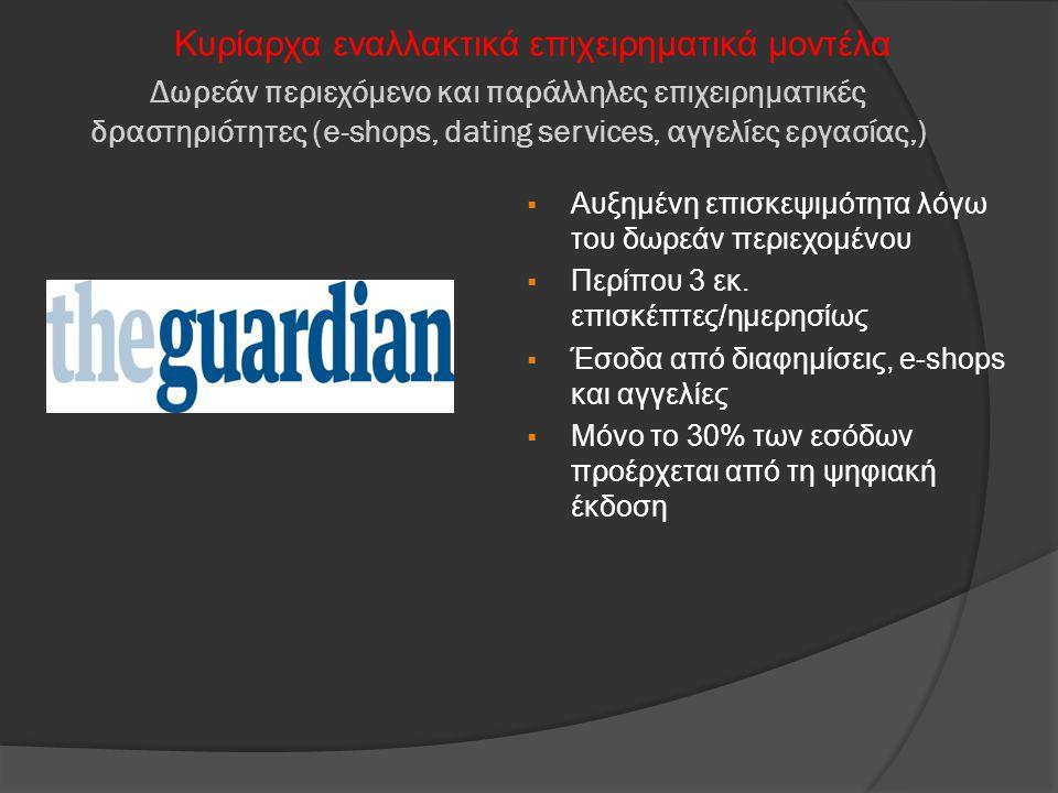 Δωρεάν περιεχόμενο και παράλληλες επιχειρηματικές δραστηριότητες (e-shops, dating services, αγγελίες εργασίας,) Κυρίαρχα εναλλακτικά επιχειρηματικά μο