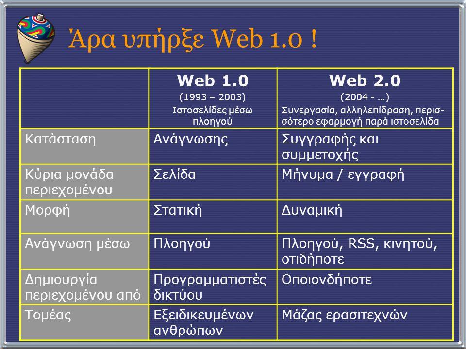 Άρα υπήρξε Web 1.0 ! Web 1.0 (1993 – 2003) Ιστοσελίδες μέσω πλοηγού Web 2.0 (2004 - …) Συνεργασία, αλληλεπίδραση, περισ- σότερο εφαρμογή παρά ιστοσελί