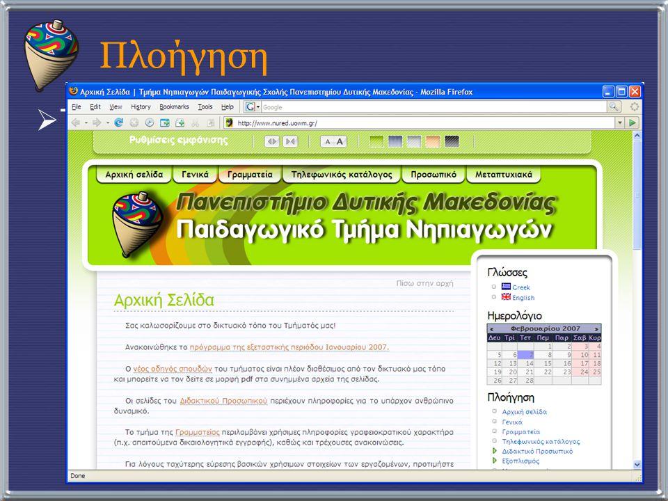 Πλοήγηση  Τα ελεύθερα πρότυπα επικράτησαν:  HTML  CSS  AJAX  Java  …