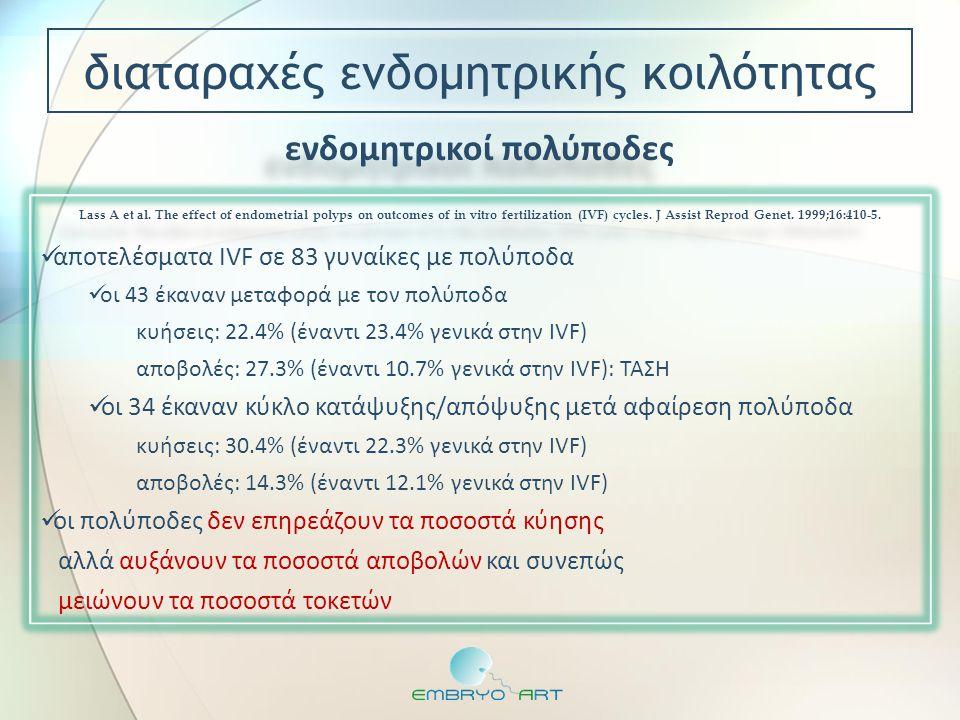 ενδομητρικοί πολύποδες  αποτελέσματα IVF σε 83 γυναίκες με πολύποδα  οι 43 έκαναν μεταφορά με τον πολύποδα κυήσεις: 22.4% (έναντι 23.4% γενικά στην