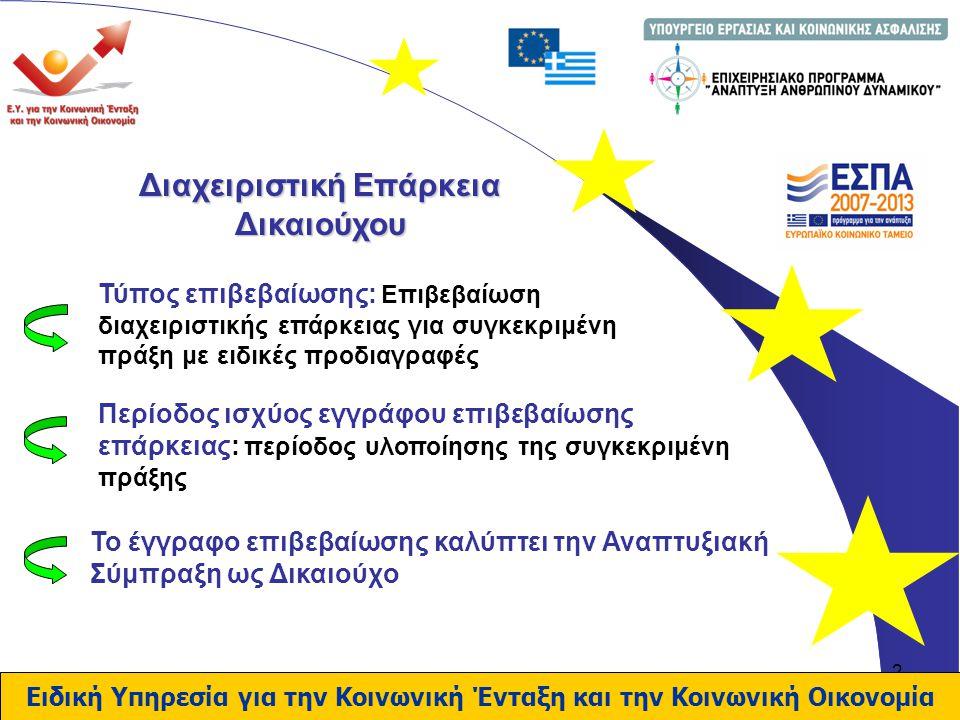 3 Απαιτήσεις Διαχειριστικής Επάρκειας Δικαιούχου Απαίτηση 1 - Επάρκεια Προϋποθέσεων: διασφάλιση υλοποίησης του έργου σύμφωνα με το κοινοτικό και εθνικό δίκαιο Ειδική Υπηρεσία για την Κοινωνική Ένταξη και την Κοινωνική Οικονομία ο Δυνητικός Δικαιούχος έχει την αρμοδιότητα υλοποίησης πράξεων συμβατότητα κανονιστικού πλαισίου λειτουργίας δικαιούχου με το κοινοτικό δίκαιο και εφαρμογή όλων των εθνικών ρυθμίσεων σε σχέση με την ανάθεση και διαχείριση δημοσίων συμβάσεων (έργων, προμηθειών και υπηρεσιών)