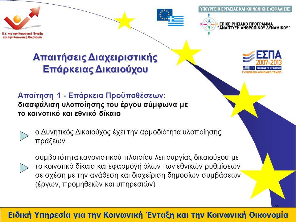4 Απαιτήσεις Διαχειριστικής Επάρκειας Δικαιούχου Απαίτηση 2 - Οργανωτική Διάρθρωση, Ελάχιστη Οργανωτική Δομή & Στελέχωση: Εξετάζεται η ύπαρξη ομάδας έργου για : Ειδική Υπηρεσία για την Κοινωνική Ένταξη και την Κοινωνική Οικονομία Παρακολούθηση φυσικού και οικονομικού αντικειμένου της Πράξης.