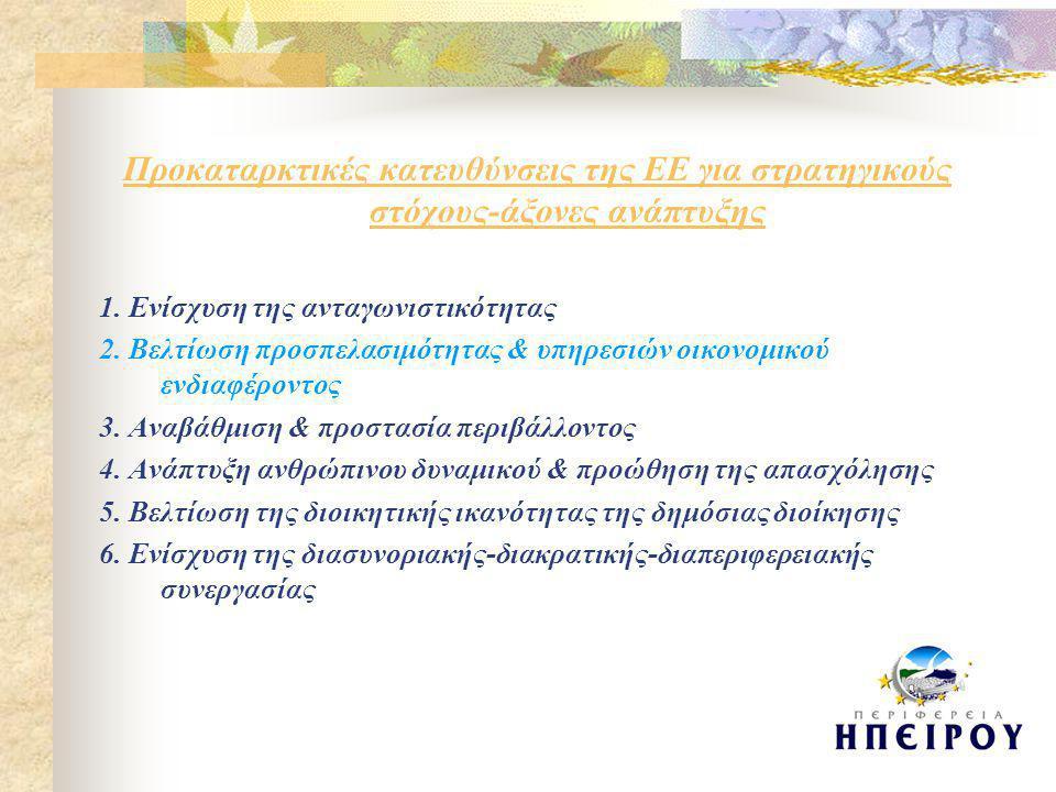 Βασικές προτεραιότητες ανάπτυξης (1)  Βελτίωση της προσπελασιμότητας στις παρεχόμενες υπηρεσίες οικονομικού & κοινωνικού ενδιαφέροντος  Ενίσχυση τηλεπικοινωνιών  Ενίσχυση-συμπλήρωση υποδομής παιδείας, υγείας, πρόνοιας  Ενίσχυση & αναβάθμιση της επιτόπου διοίκησης  Κατάρτιση του προσωπικού & ανάπτυξη αποτελεσματικών μέσων διαχείρισης-παρακολούθησης-αξιολόγησης  Δημιουργία μόνιμων φορέων & δικτύων συνεργασίας  Δυνατότητα εκπόνησης & εφαρμογής μικρών ολοκληρωμένων επιχειρησιακών σχεδίων  Αξιοποίηση νέων τεχνολογιών & ΚτΠ