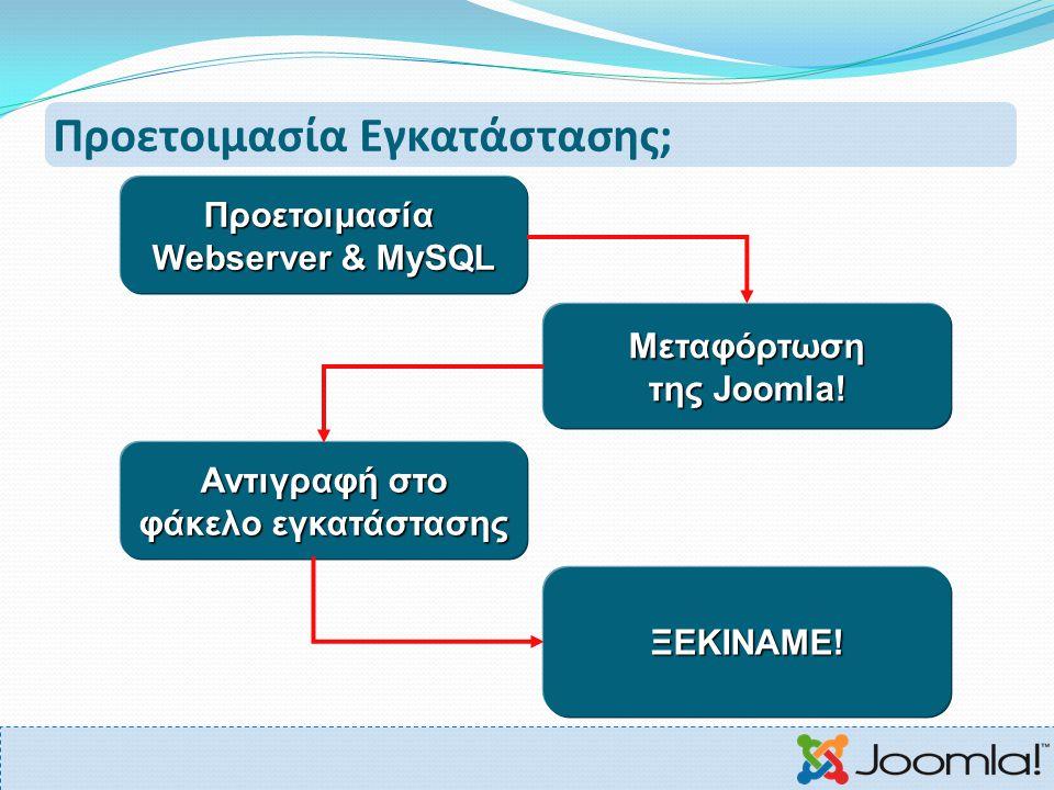 Προετοιμασία Εγκατάστασης; Προετοιμασία Webserver & MySQL Μεταφόρτωση της Joomla! Αντιγραφή στο φάκελο εγκατάστασης ΞΕΚΙΝΑΜΕ!