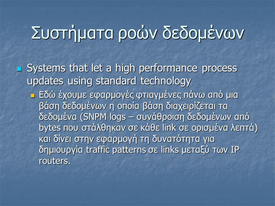 Συστήματα ροών δεδομένων  Systems that let a high performance process updates using standard technology  Εδώ έχουμε εφαρμογές φτιαγμένες πάνω από μια βάση δεδομένων η οποία βάση διαχειρίζεται τα δεδομένα (SNPM logs – συνάθροιση δεδομένων από bytes που στάλθηκαν σε κάθε link σε ορισμένα λεπτά) και δίνει στην εφαρμογή τη δυνατότητα για δημιουργία traffic patterns σε links μεταξύ των IP routers.
