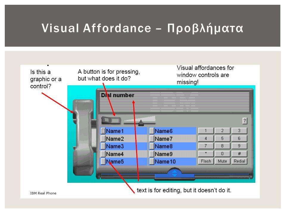 Visual Affordance – Προβλήματα