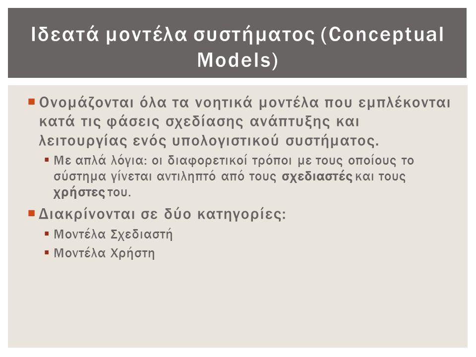Ιδεατά μοντέλα συστήματος (Conceptual Models)  Ονομάζονται όλα τα νοητικά μοντέλα που εμπλέκονται κατά τις φάσεις σχεδίασης ανάπτυξης και λειτουργίας