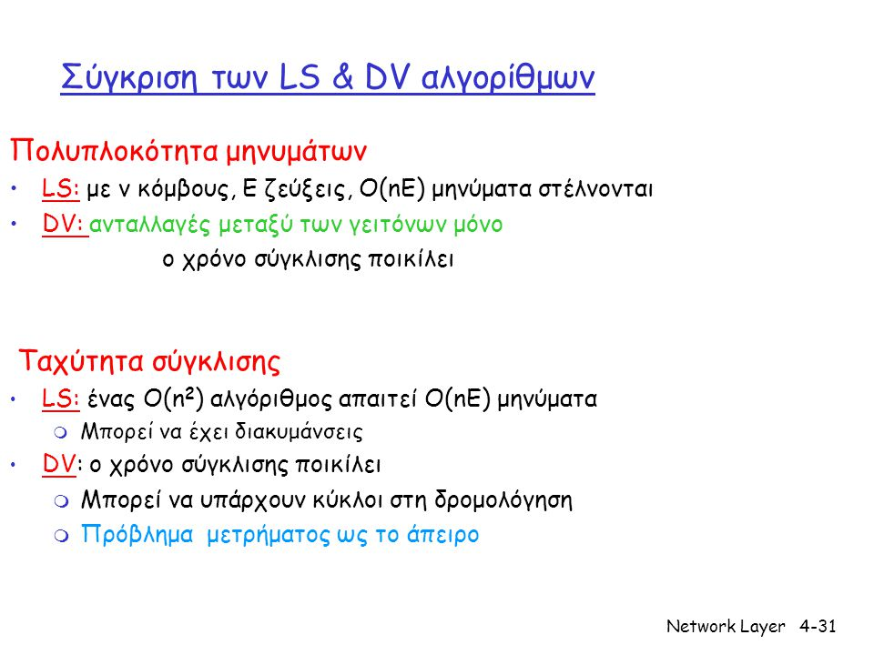 Network Layer4-31 Σύγκριση των LS & DV αλγορίθμων Πολυπλοκότητα μηνυμάτων •LS: με ν κόμβους, E ζεύξεις, O(nE) μηνύματα στέλνονται •DV: ανταλλαγές μεταξύ των γειτόνων μόνο ο χρόνο σύγκλισης ποικίλει Ταχύτητα σύγκλισης • LS: ένας O(n 2 ) αλγόριθμος απαιτεί O(nE) μηνύματα m Μπορεί να έχει διακυμάνσεις • DV: ο χρόνο σύγκλισης ποικίλει m Μπορεί να υπάρχουν κύκλοι στη δρομολόγηση m Πρόβλημα μετρήματος ως το άπειρο