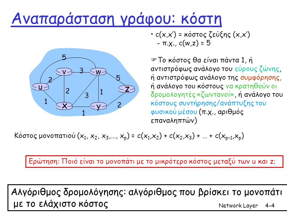 Network Layer4-4 Αναπαράσταση γράφου: κόστη u y x wv z 2 2 1 3 1 1 2 5 3 5 • c(x,x') = κόστος ζεύξης (x,x') - π.χ., c(w,z) = 5  Το κόστος θα είναι πάντα 1, ή αντιστρόφως ανάλογο του εύρους ζώνης, ή αντιστρόφως ανάλογο της συμφόρησης, ή ανάλογο του κόστους να κρατηθούν οι δρομολογητές «ζωντανοί», ή ανάλογο του κόστους συντήρησης/ανάπτυξης του φυσικού μέσου (π.χ., αριθμός επαναληπτών) Κόστος μονοπατιού (x 1, x 2, x 3,…, x p ) = c(x 1,x 2 ) + c(x 2,x 3 ) + … + c(x p-1,x p ) Ερώτηση: Ποιό είναι το μονοπάτι με το μικρότερο κόστος μεταξύ των u και z; Αλγόριθμος δρομολόγησης: αλγόριθμος που βρίσκει το μονοπάτι με το ελάχιστο κόστος