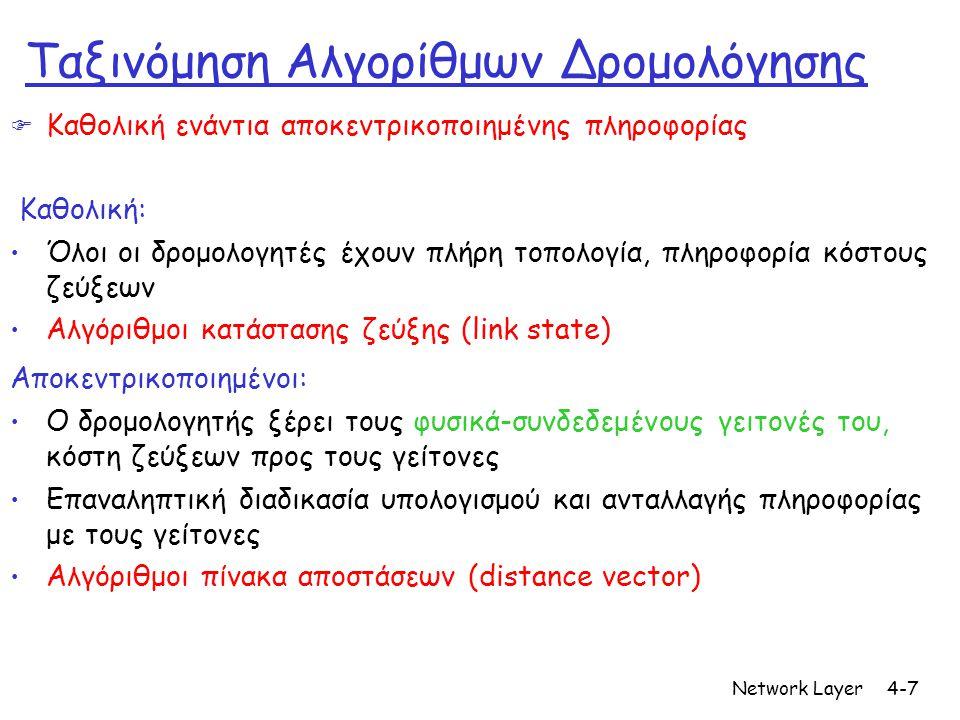 Network Layer4-7 Ταξινόμηση Αλγορίθμων Δρομολόγησης  Καθολική ενάντια αποκεντρικοποιημένης πληροφορίας Καθολική: • Όλοι οι δρομολογητές έχουν πλήρη τοπολογία, πληροφορία κόστους ζεύξεων • Αλγόριθμοι κατάστασης ζεύξης (link state) Αποκεντρικοποιημένοι: • Ο δρομολογητής ξέρει τους φυσικά-συνδεδεμένους γειτονές του, κόστη ζεύξεων προς τους γείτονες • Επαναληπτική διαδικασία υπολογισμού και ανταλλαγής πληροφορίας με τους γείτονες • Αλγόριθμοι πίνακα αποστάσεων (distance vector)