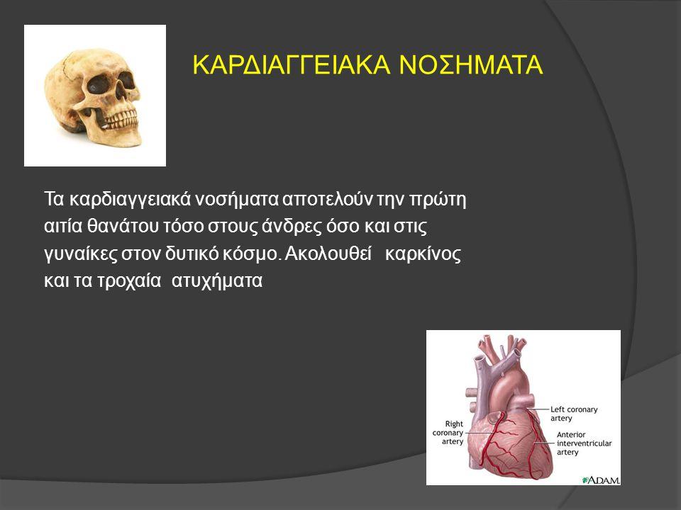 ΚΑΡΔΙΑΓΓΕΙΑΚΑ ΝΟΣΗΜΑΤΑ Τα καρδιαγγειακά νοσήματα αποτελούν την πρώτη αιτία θανάτου τόσο στους άνδρες όσο και στις γυναίκες στον δυτικό κόσμο. Ακολουθε