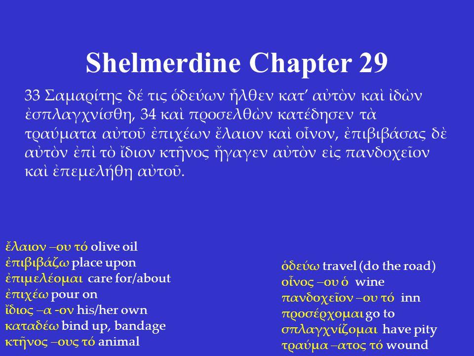 Shelmerdine Chapter 29 33 Σαμαρίτης δέ τις ὁδεύων ἦλθεν κατ' αὐτὸν καὶ ἰδὼν ἐσπλαγχνίσθη, 34 καὶ προσελθὼν κατέδησεν τὰ τραύματα αὐτοῦ ἐπιχέων ἔλαιον