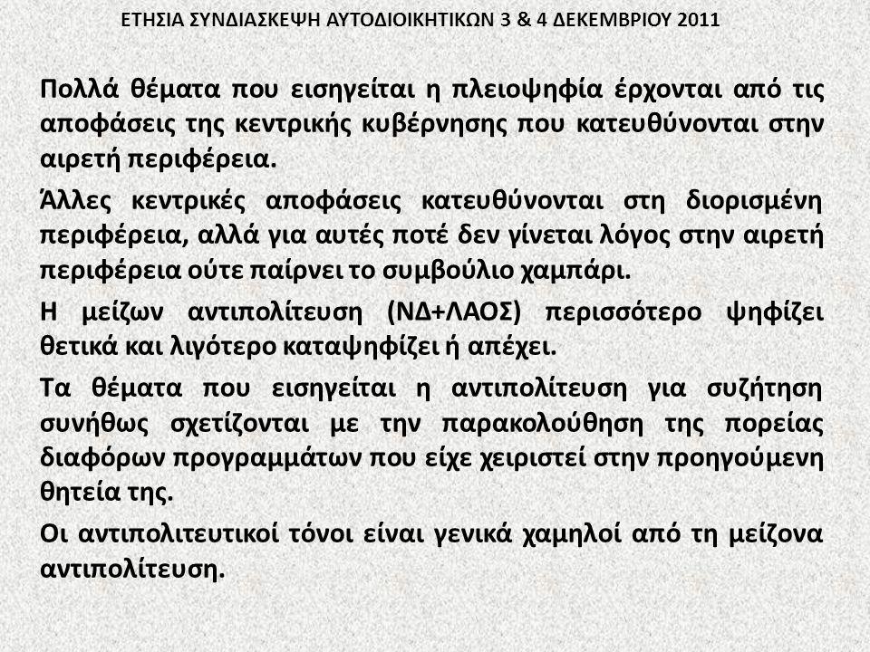 ΕΤΗΣΙΑ ΣΥΝΔΙΑΣΚΕΨΗ ΑΥΤΟΔΙΟΙΚΗΤΙΚΩΝ 3 & 4 ΔΕΚΕΜΒΡΙΟΥ 2011 Πολλά θέματα που εισηγείται η πλειοψηφία έρχονται από τις αποφάσεις της κεντρικής κυβέρνησης