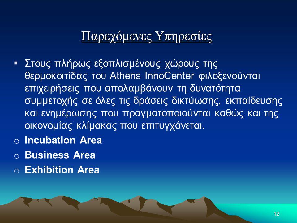 Παρεχόμενες Υπηρεσίες  Στους πλήρως εξοπλισμένους χώρους της θερμοκοιτίδας του Athens InnoCenter φιλοξενούνται επιχειρήσεις που απολαμβάνουν τη δυνατ