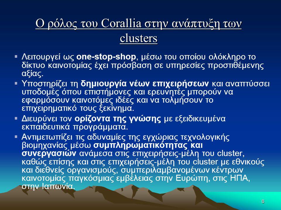 Ο ρόλος του Corallia στην ανάπτυξη των clusters  Λειτουργεί ως one-stop-shop, μέσω του οποίου ολόκληρο το δίκτυο καινοτομίας έχει πρόσβαση σε υπηρεσί