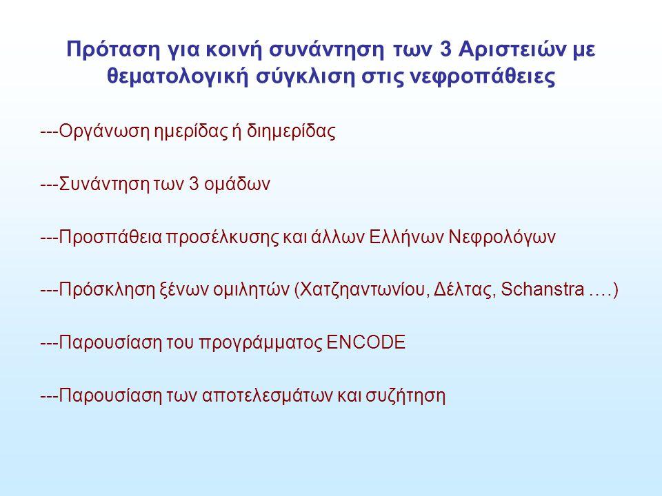 Πρόταση για κοινή συνάντηση των 3 Αριστειών με θεματολογική σύγκλιση στις νεφροπάθειες ---Οργάνωση ημερίδας ή διημερίδας ---Συνάντηση των 3 ομάδων ---Προσπάθεια προσέλκυσης και άλλων Ελλήνων Νεφρολόγων ---Πρόσκληση ξένων ομιλητών (Χατζηαντωνίου, Δέλτας, Schanstra ….) ---Παρουσίαση του προγράμματος ENCODE ---Παρουσίαση των αποτελεσμάτων και συζήτηση