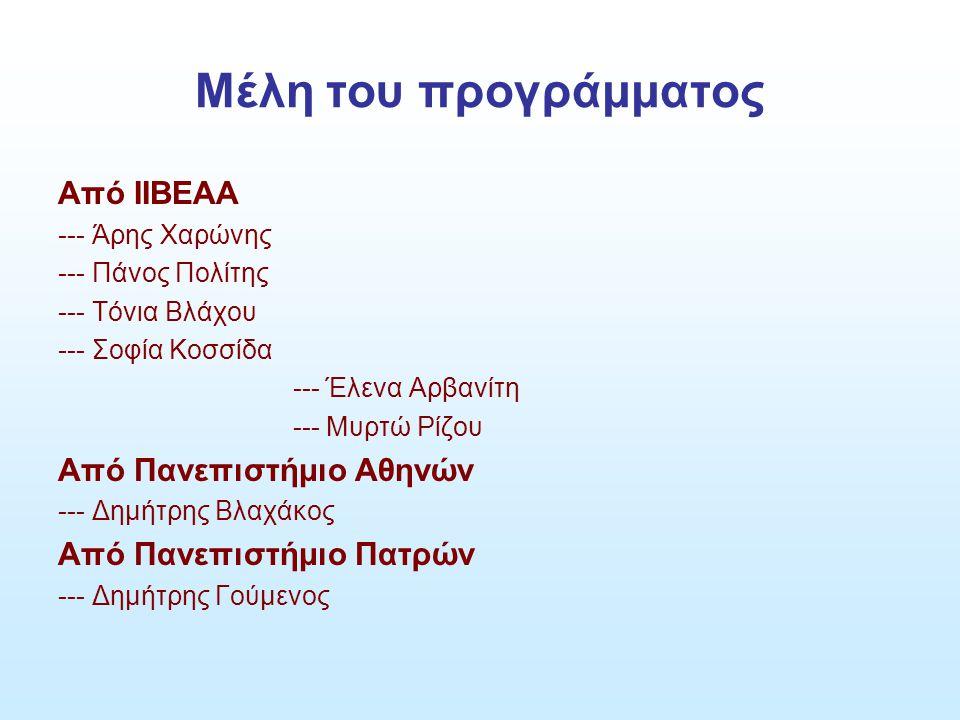 Μέλη του προγράμματος Από ΙΙΒΕΑΑ --- Άρης Χαρώνης --- Πάνος Πολίτης --- Τόνια Βλάχου --- Σοφία Κοσσίδα --- Έλενα Αρβανίτη --- Μυρτώ Ρίζου Από Πανεπιστήμιο Αθηνών --- Δημήτρης Βλαχάκος Από Πανεπιστήμιο Πατρών --- Δημήτρης Γούμενος