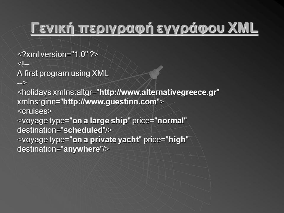 Γενική περιγραφή εγγράφου XML Γενική περιγραφή εγγράφου XML <!-- A first program using XML --> <holidays xmlns:altgr= http://www.alternativegreece.gr xmlns:ginn= http://www.guestinn.com > <cruises> <voyage type= on a large ship price= normal destination= scheduled /> <voyage type= on a private yacht price= high destination= anywhere />