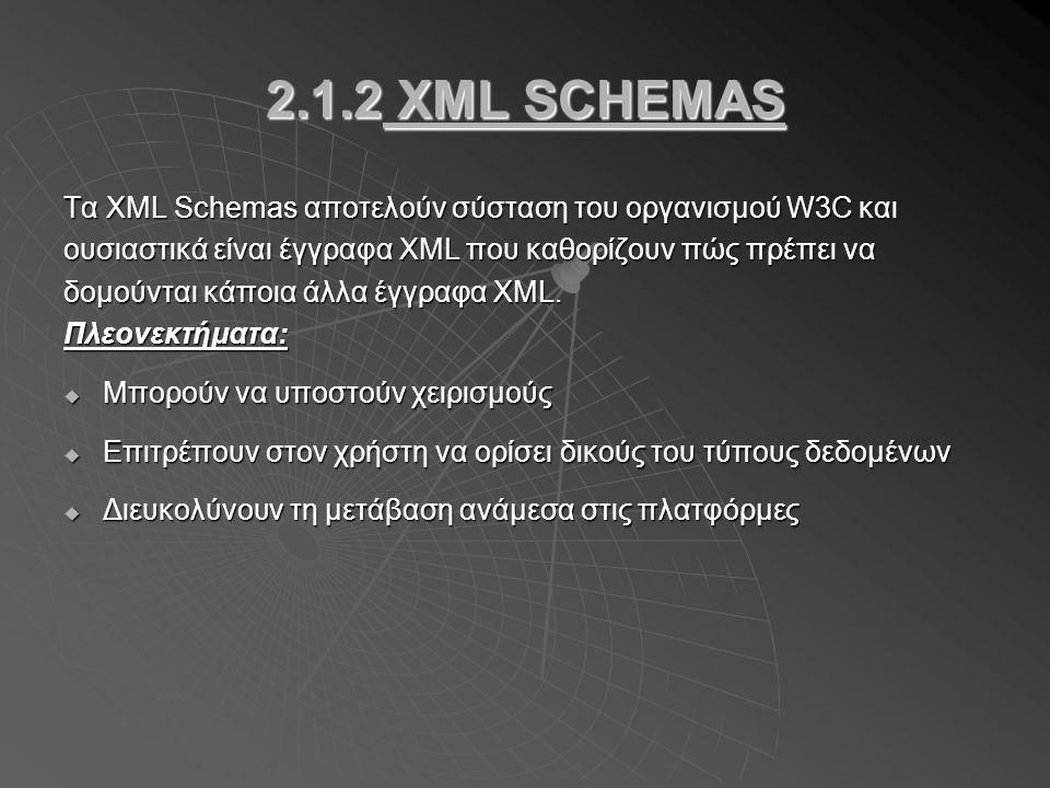 2.1.2 XML SCHEMAS Τα XML Schemas αποτελούν σύσταση του οργανισμού W3C και ουσιαστικά είναι έγγραφα XML που καθορίζουν πώς πρέπει να δομούνται κάποια άλλα έγγραφα XML.