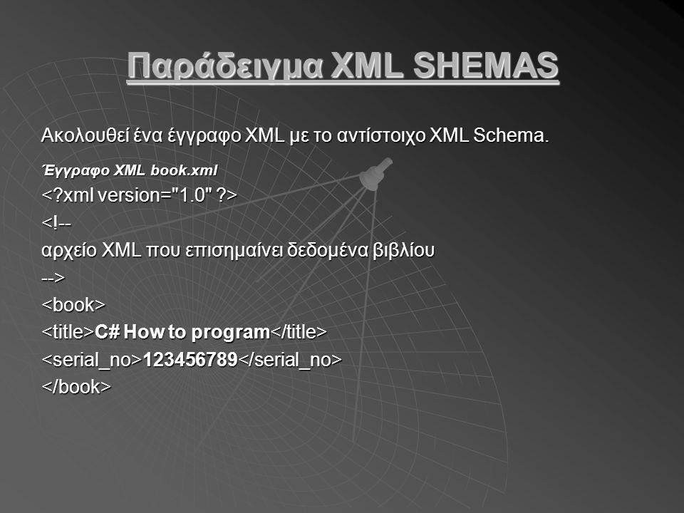 Παράδειγμα XML SHEMAS Ακολουθεί ένα έγγραφο XML με το αντίστοιχο XML Schema.