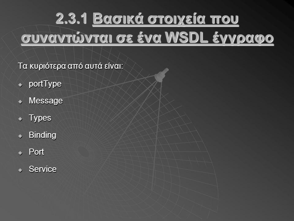 2.3.1 Βασικά στοιχεία που συναντώνται σε ένα WSDL έγγραφο Τα κυριότερα από αυτά είναι:  portType  Message  Types  Binding  Port  Service