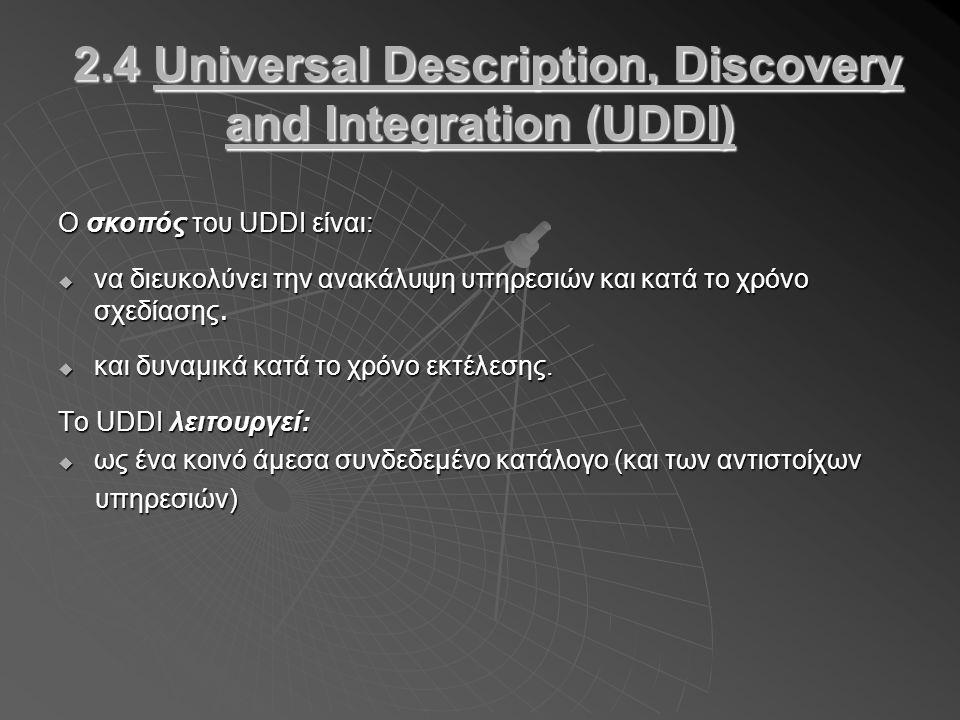 2.4 Universal Description, Discovery and Integration (UDDI) 2.4 Universal Description, Discovery and Integration (UDDI) Ο σκοπός του UDDI είναι:  να διευκολύνει την ανακάλυψη υπηρεσιών και κατά το χρόνο σχεδίασης.