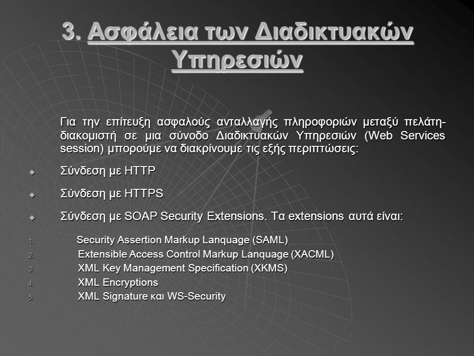 3. Ασφάλεια των Διαδικτυακών Υπηρεσιών Για την επίτευξη ασφαλούς ανταλλαγής πληροφοριών μεταξύ πελάτη- διακομιστή σε μια σύνοδο Διαδικτυακών Υπηρεσιών