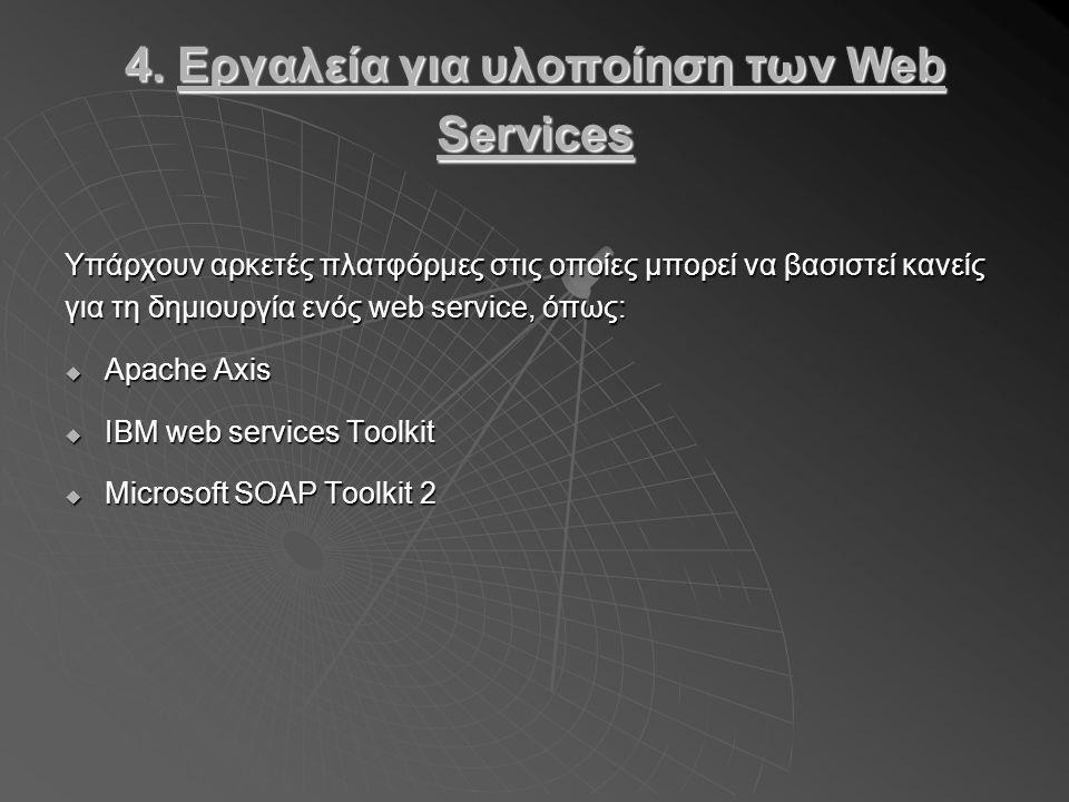 4. Εργαλεία για υλοποίηση των Web Services Υπάρχουν αρκετές πλατφόρμες στις οποίες μπορεί να βασιστεί κανείς για τη δημιουργία ενός web service, όπως: