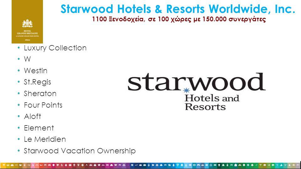 Starwood Hotels & Resorts Worldwide, Inc. 1100 Ξενοδοχεία, σε 100 χώρες με 150.000 συνεργάτες • Luxury Collection • W • Westin • St.Regis • Sheraton •