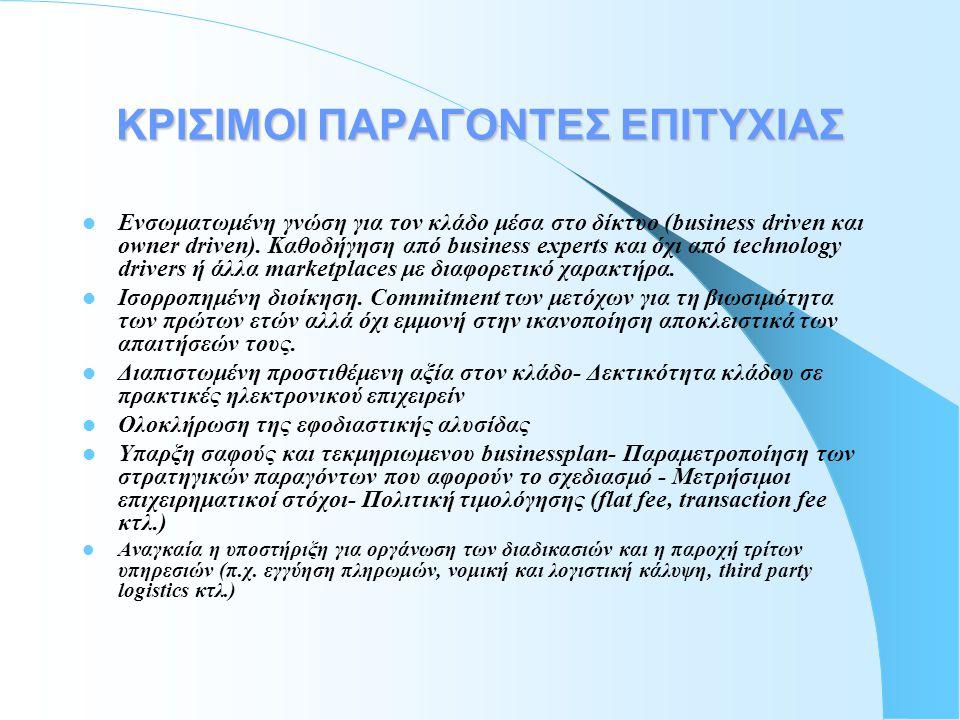 Γιατί e-marketplaces? •Ενώνουν την προσφορά με τη ζήτηση (catalog buying, plain and reversed auctions, negotiations, exchange, etc.) •Υπηρεσίες προστι