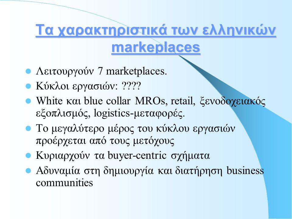 Τα χαρακτηριστικά των ελληνικών markeplaces  Λειτουργούν 7 marketplaces.