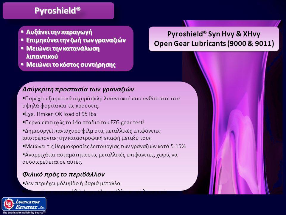 10 Pyroshield® Syn Hvy & XHvy Open Gear Lubricants (9000 & 9011) Ασύγκριτη προστασία των γραναζιών  Παρέχει εξαιρετικά ισχυρό φίλμ λιπαντικού που ανθ