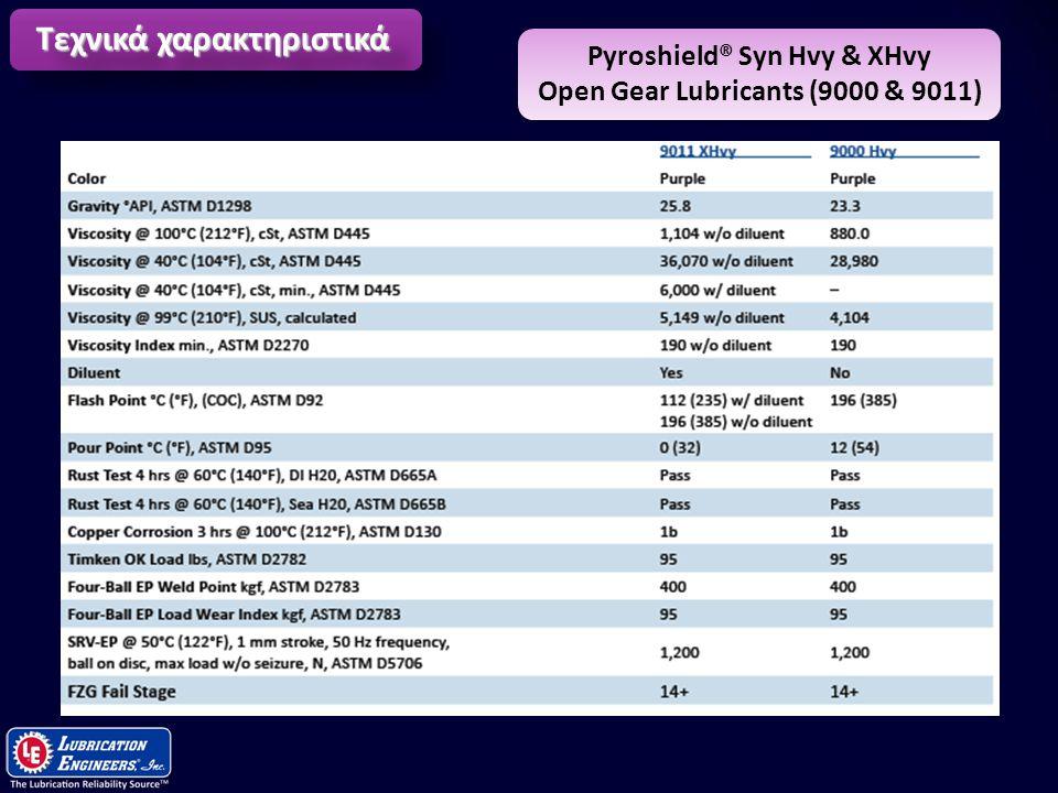 11 Τεχνικά χαρακτηριστικά Pyroshield® Syn Hvy & XHvy Open Gear Lubricants (9000 & 9011)