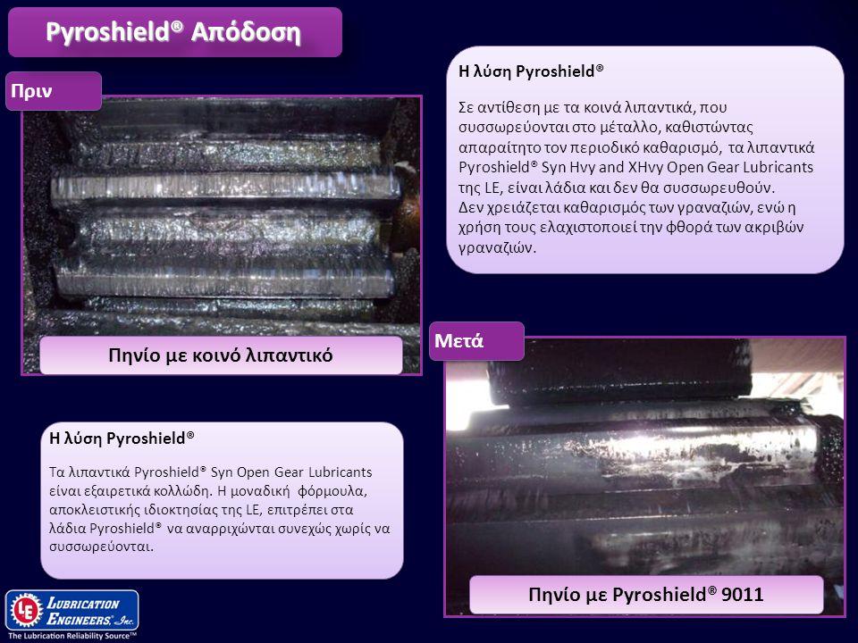 13 Πηνίο με Pyroshield® 9011Πηνίο με κοινό λιπαντικό ΠρινΜετά Pyroshield® Απόδοση Η λύση Pyroshield® Τα λιπαντικά Pyroshield® Syn Open Gear Lubricants