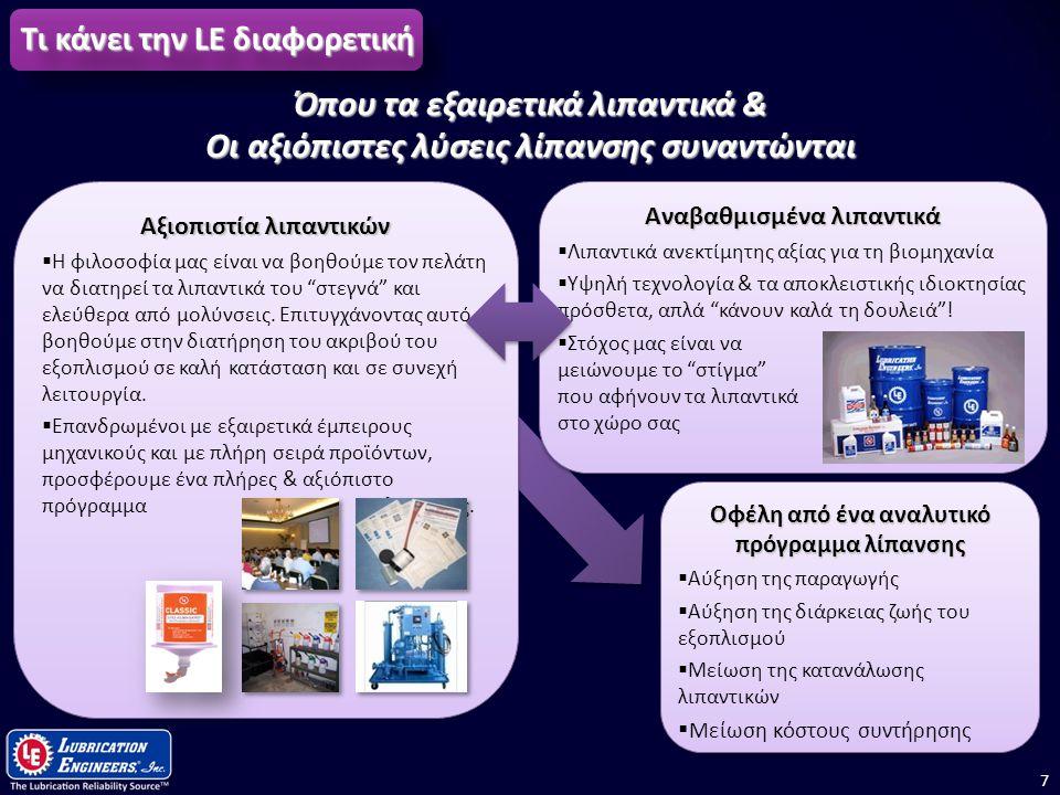 7 Οφέλη από ένα αναλυτικό πρόγραμμα λίπανσης  Αύξηση της παραγωγής  Αύξηση της διάρκειας ζωής του εξοπλισμού  Μείωση της κατανάλωσης λιπαντικών  Μ