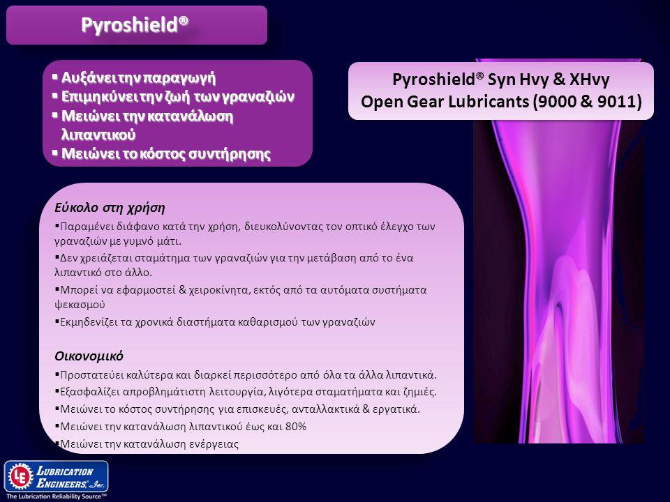 10 Pyroshield® Syn Hvy & XHvy Open Gear Lubricants (9000 & 9011) Ασύγκριτη προστασία των γραναζιών  Παρέχει εξαιρετικά ισχυρό φίλμ λιπαντικού που ανθίσταται στα υψηλά φορτία και τις κρούσεις.