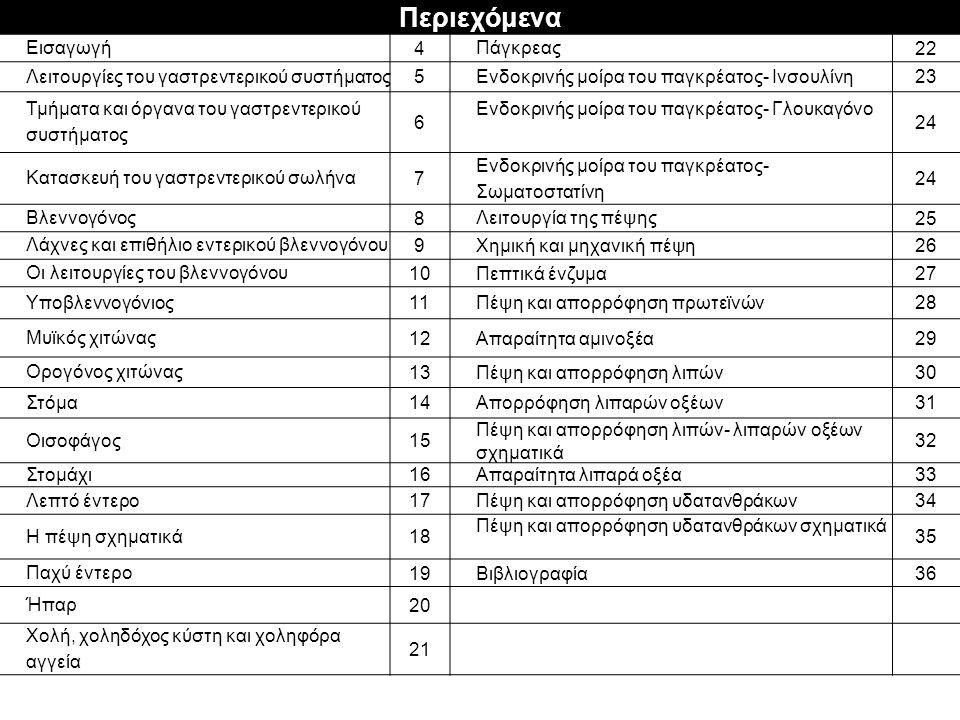 Περιεχόμενα Εισαγωγή 4 Πάγκρεας2 Λειτουργίες του γαστρεντερικού συστήματος 5 Ενδοκρινής μοίρα του παγκρέατος- Ινσουλίνη 2323 Τμήματα και όργανα του γαστρεντερικού συστήματος 6 Ενδοκρινής μοίρα του παγκρέατος- Γλουκαγόνο 2424 Κατασκευή του γαστρεντερικού σωλήνα 7 Ενδοκρινής μοίρα του παγκρέατος- Σωματοστατίνη 2424 Βλεννογόνος 8 Λειτουργία της πέψης 2525 Λάχνες και επιθήλιο εντερικού βλεννογόνου 9Χημική και μηχανική πέψη2626 Οι λειτουργίες του βλεννογόνου 10Πεπτικά ένζυμα2727 Υποβλεννογόνιος1Πέψη και απορρόφηση πρωτεϊνών2828 Μυϊκός χιτώνας 1212Απαραίτητα αμινοξέα2929 Ορογόνος χιτώνας 1313Πέψη και απορρόφηση λιπών30 Στόμα 1414Απορρόφηση λιπαρών οξέων3131 Οισοφάγος1515 Πέψη και απορρόφηση λιπών- λιπαρών οξέων σχηματικά 3232 Στομάχι1616Απαραίτητα λιπαρά οξέα3 Λεπτό έντερο 1717Πέψη και απορρόφηση υδατανθράκων3434 Η πέψη σχηματικά 1818 Πέψη και απορρόφηση υδατανθράκων σχηματικά 3535 Παχύ έντερο 1919Βιβλιογραφία3636 Ήπαρ 20 Χολή, χοληδόχος κύστη και χοληφόρα αγγεία 2121