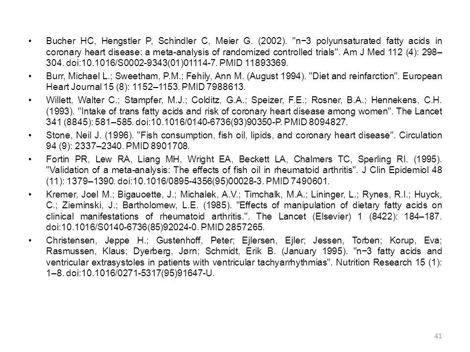•Bucher HC, Hengstler P, Schindler C, Meier G.(2002).