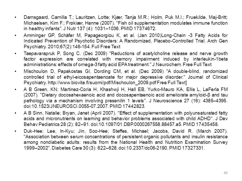 •Damsgaard, Camilla T.; Lauritzen, Lotte; Kjær, Tanja M.R.; Holm, Puk M.I.; Fruekilde, Maj-Britt; Michaelsen, Kim F.; Frøkiær, Hanne (2007).