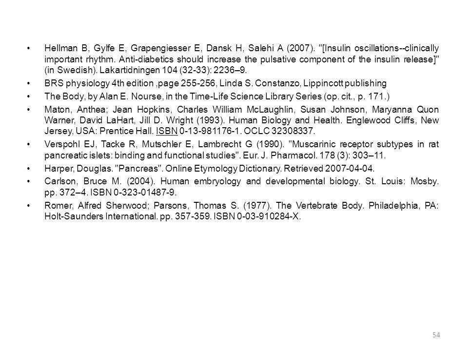 •Hellman B, Gylfe E, Grapengiesser E, Dansk H, Salehi A (2007).