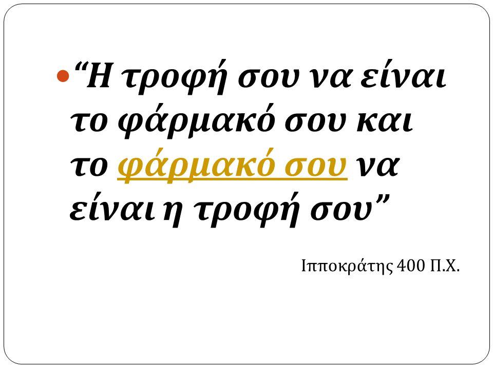 """ """" Η τροφή σου να είναι το φάρμακό σου και το φάρμακό σου να είναι η τροφή σου """" φάρμακό σου Ιπποκράτης 400 Π. Χ."""