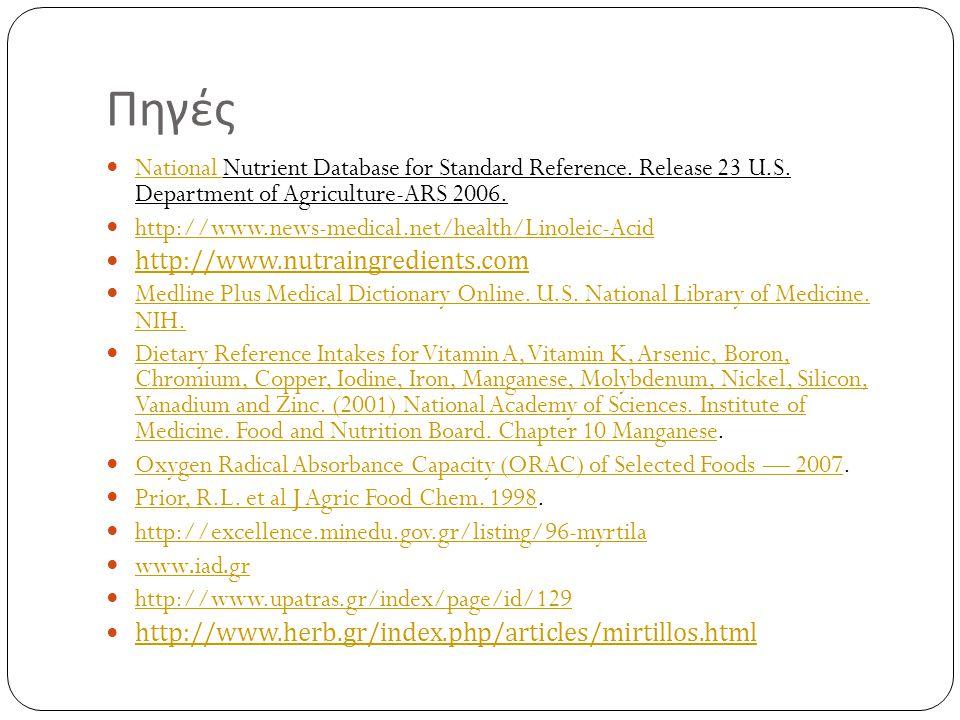 Πηγές  National Nutrient Database for Standard Reference. Release 23 U.S. Department of Agriculture-ARS 2006. National  http://www.news-medical.net/