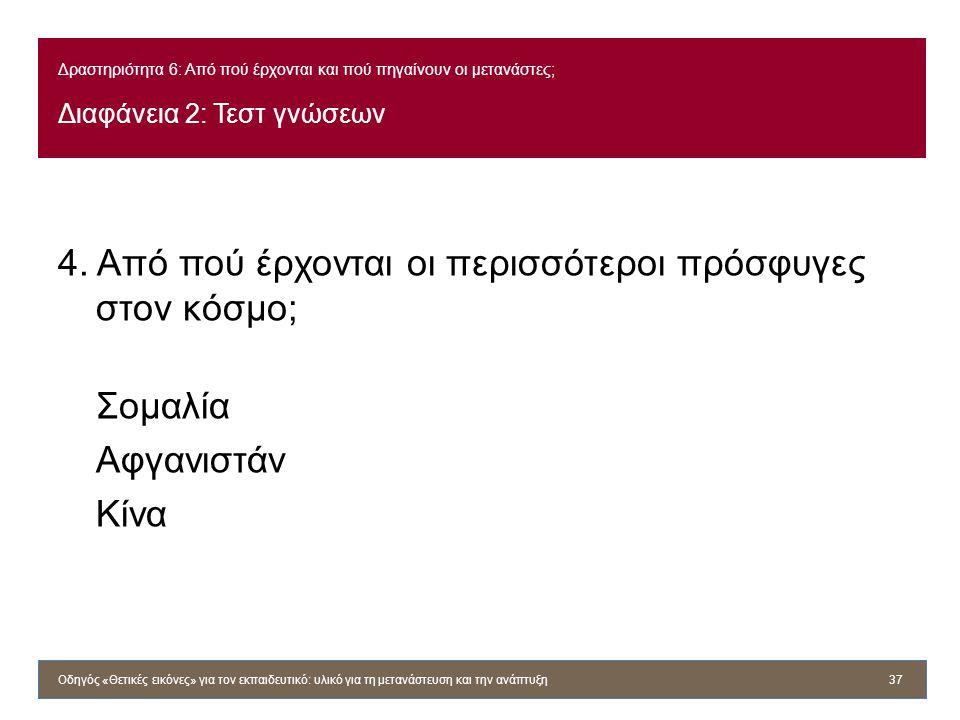 Δραστηριότητα 6: Από πού έρχονται και πού πηγαίνουν οι μετανάστες; Διαφάνεια 2: Τεστ γνώσεων 4. Από πού έρχονται οι περισσότεροι πρόσφυγες στον κόσμο;