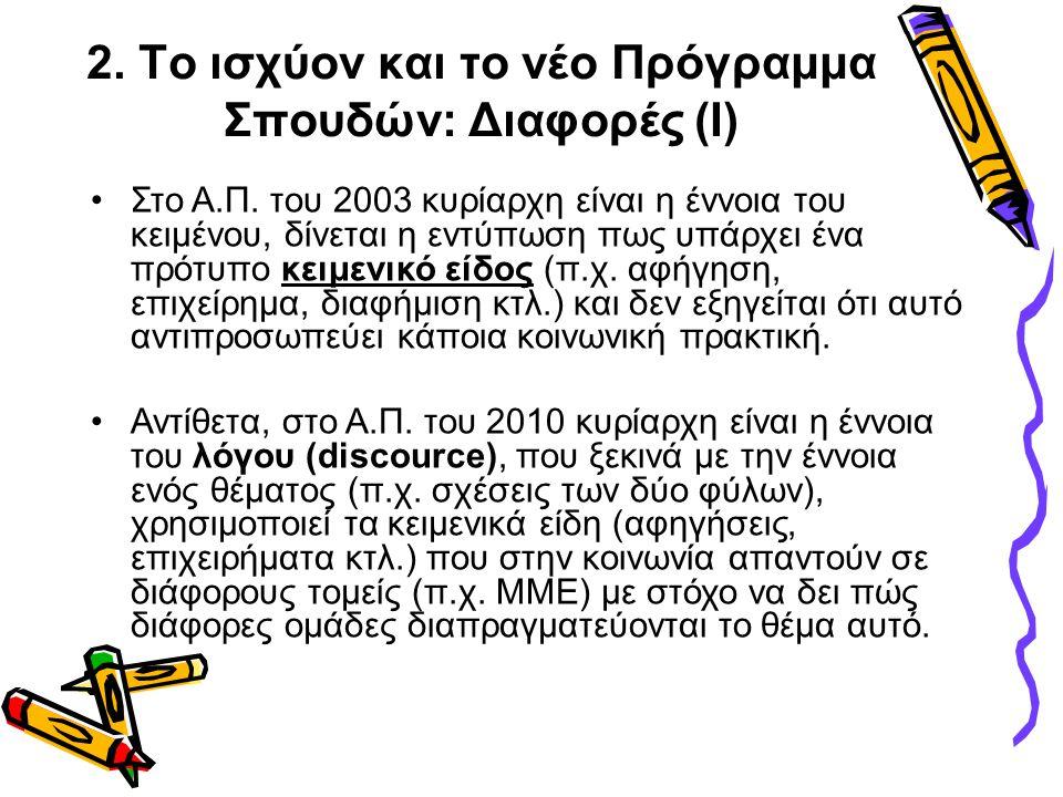 2. Το ισχύον και το νέο Πρόγραμμα Σπουδών: Διαφορές (Ι) •Στο Α.Π. του 2003 κυρίαρχη είναι η έννοια του κειμένου, δίνεται η εντύπωση πως υπάρχει ένα πρ