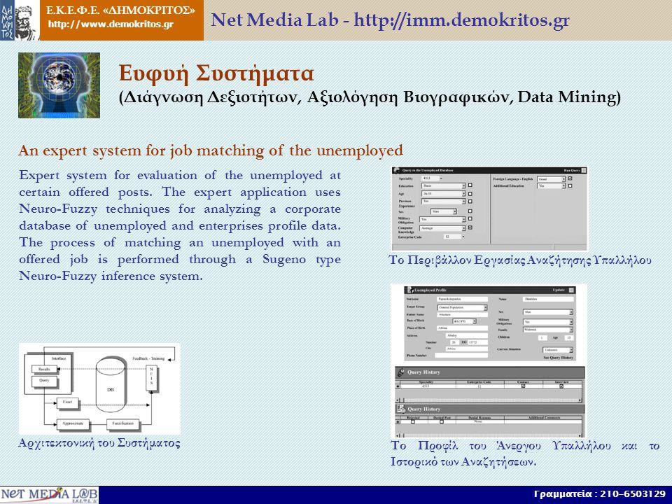 Ευφυή Συστήματα (Διάγνωση Δεξιοτήτων, Αξιολόγηση Βιογραφικών, Data Mining) An expert system for job matching of the unemployed Αρχιτεκτονική του Συστήματος Το Περιβάλλον Εργασίας Αναζήτησης Υπαλλήλου Το Προφίλ του Άνεργου Υπαλλήλου και το Ιστορικό των Αναζητήσεων.