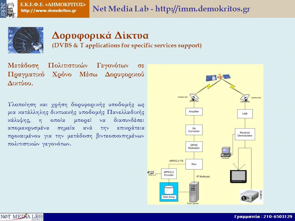Ε.Κ.Ε.Φ.Ε. «ΔΗΜΟΚΡΙΤΟΣ» http://www.demokritos.gr Γραμματεία : 210-6503129 Δορυφορικά Δίκτυα (DVBS & T applications for specific services support) Μετά